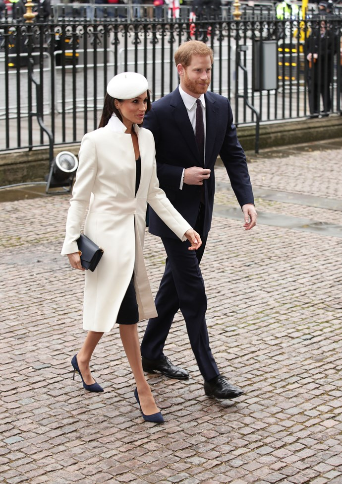 Meghan was first seen wearing the stunning coat on Commonwealth Day in March 2018. *(Image: Getty)*