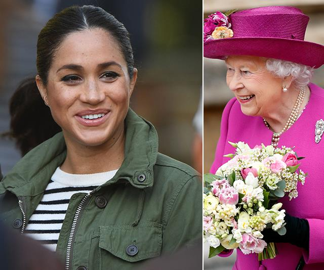 The Queen has paid a very special visit to Duchess Meghan. *(Image: Getty)*