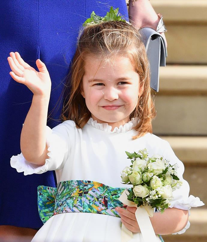Princess Charlotte stole the show (and our hearts!) at Princess Eugenie's wedding. *(Image: Getty)*