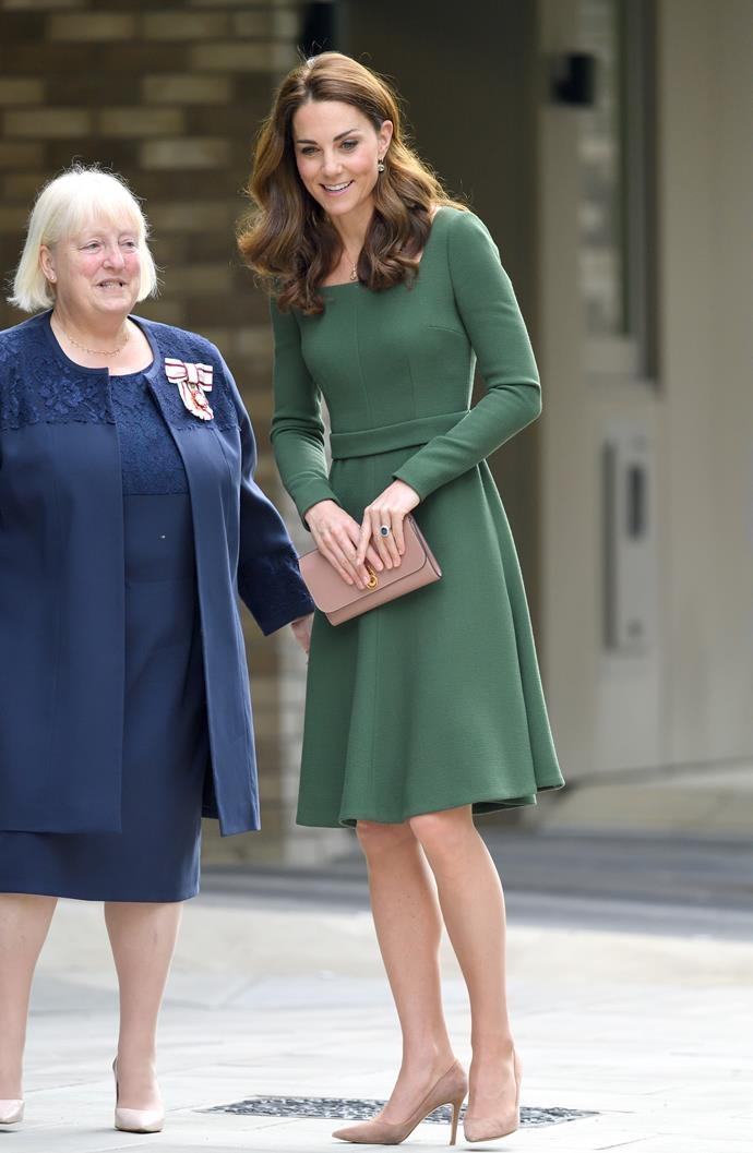 Kate's Emilia Wickstead dress was feminine and flattering on the royal. *(Image: Getty)*