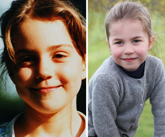 "While there's no denying there's a strong cross-over with Queen Elizabeth, we'd like to point out just how much [Princess Charlotte](https://www.nowtolove.com.au/tags/princess-charlotte-of-cambridge|target=""_blank"") takes after her mother. Those lips! That hair! We're seeing double... *(Images: The Middleton family, The Duchess of Cambridge)*"