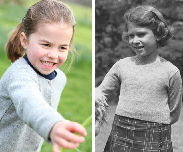 Two royal peas in a pod! Charlotte is giving us major Princess Elizabeth, pictured on the grounds of Windsor Castle in 1936, vibes. *(Images: The Duchess of Cambridge, Getty)*