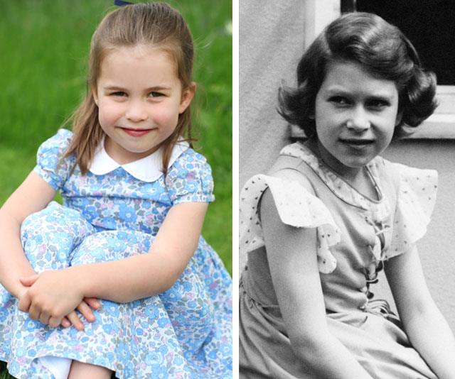 Gan-Gan's double? When these three photos of Princess Charlotte were released to mark her fourth birthday, many royal watchers have pointed out Charlotte's likeness to her great-grandmother when she was a little girl. *(Images: The Duchess of Cambridge, Getty)*