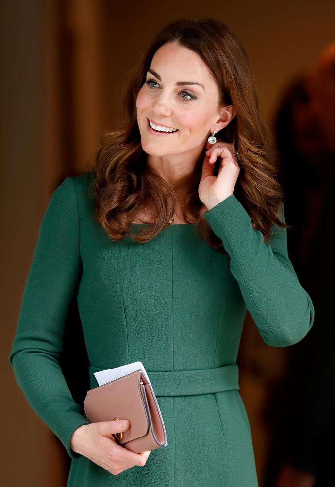 With her hair in its signature loose curls, Kate's first appearance after Easter did not disappoint! *(Image: Getty)*