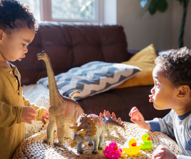 Toys become your baby's first play pals before they discover the joy of human friends. *(Image: Getty)*