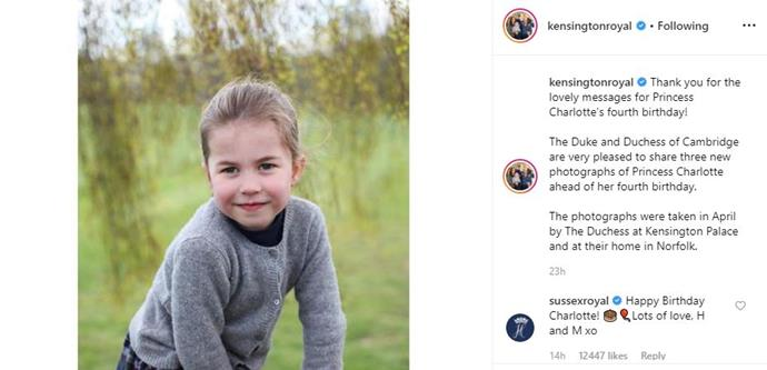 Harry and Meghan shared their well wishes with the four-year-old via their @SussexRoyal Instagram account. *(Image: Supplied)*