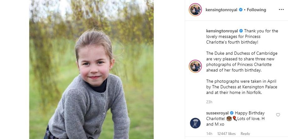 Harry and Meghan shared their well wishes with the four-year-old via their @SussexRoyal Instagram account.