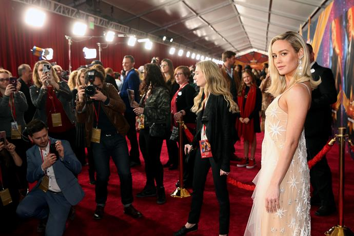 Brie sparkled in gold at the LA premiere of *Captain Marvel* on March 4 *(Image: Getty)*