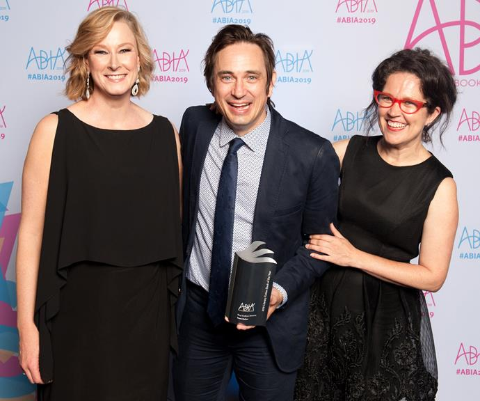 Leigh Sales, Boy Swallows Universe author Trent Dalton and Annabel Crabb at the ABIAs. *(Image: Supplied)*