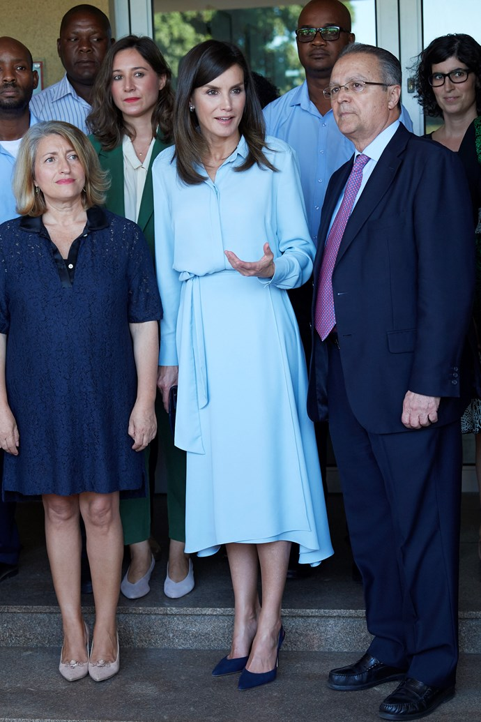"""**Queen Letizia of Spain** <br><br> To boot, she recently stepped out in a stunning blue dress that was *very* reminiscent of her British royal counterpart, Duchess Meghan.  <br><br> Indeed, Prince Harry's wife proved a button-up shirt dress is the perfect option for public engagements after she herself [wore a similar Banana Republic style](https://www.nowtolove.com.au/royals/british-royal-family/meghan-markle-maternity-fashion-51842
