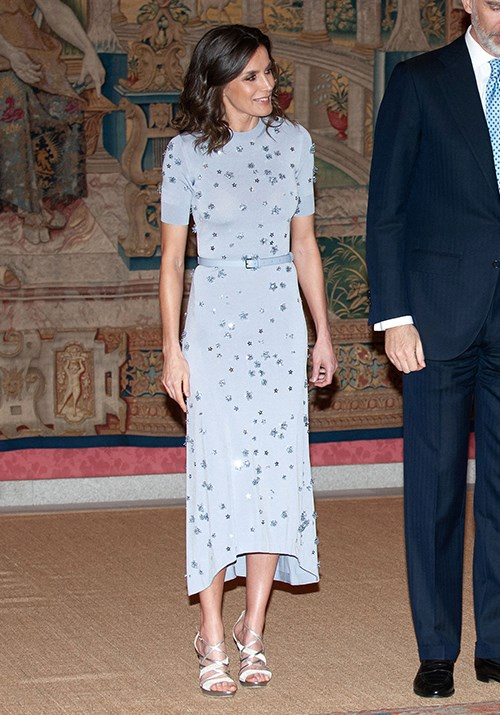 **Queen Letizia of Spain** <br><br> Indeed the Spaniard knows no bounds when it comes to glamour - we're also enamoured by this powder blue style she wore to a reception with the Peruvian president earlier this year.