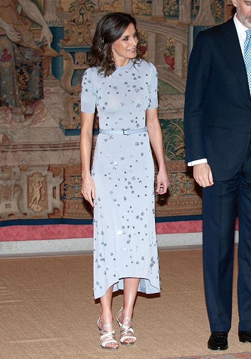 **Queen Letizia of Spain** <br><br> The Spaniard knows no bounds when it comes to glamour - we're also enamoured by this powder blue style she wore to a reception with the Peruvian president earlier this year.