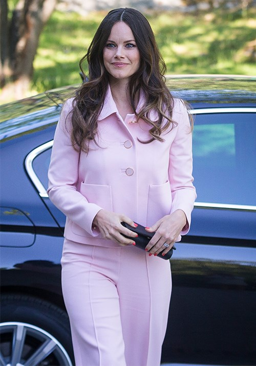 **Princess Sofia of Sweden** <br><br> Don't mind a pink pant suit if we do! The Princess looked stunning as she attended a Medals of Merit presentation in 2018.