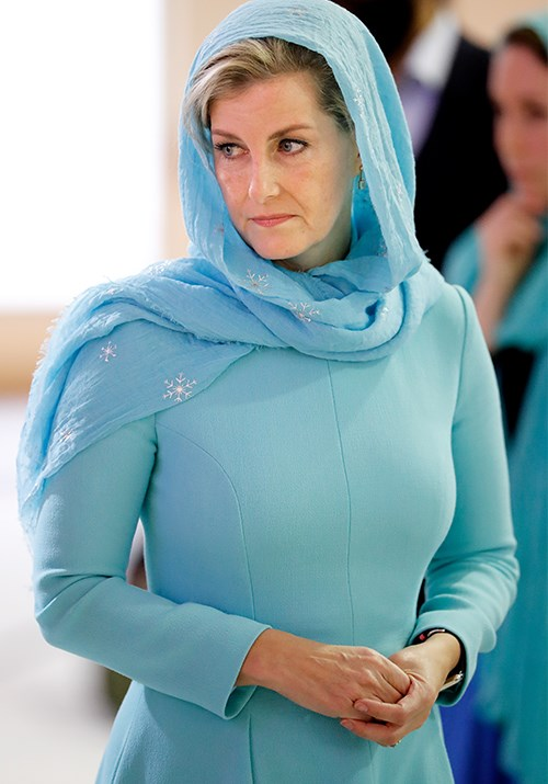**Sophie, Countess of Wessex** <br><br> Sophie's visit to a gurdwara in 2018 was a sight to behold as she stepped out in a stunning blue dress and headscarf.