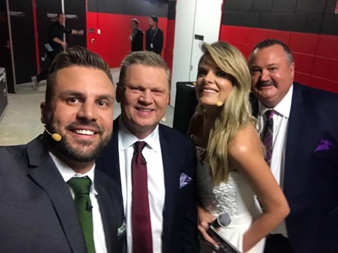 Beau Ryan's photograph with his former co-stars Paul Vautin, Erin Molan and Darryl Brohman. *(Source: Instagram/therealbeauryan)*