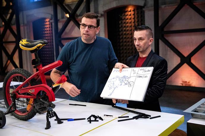 Bilsy and Kale on *LEGO Masters* (Image: Nine Network).