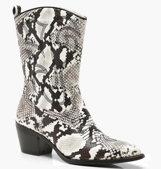 """These Boohoo boots, available for [$47.40](https://au.boohoo.com/block-heel-western-boots/DZZ00866.html?color=147