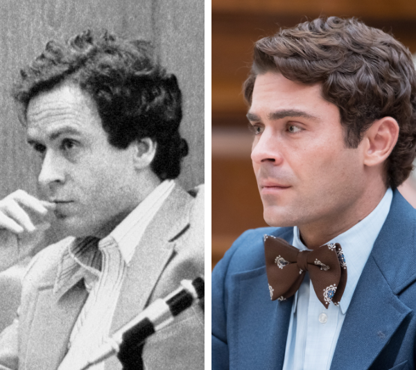 """**TED BUNDY and ZAC EFRON**  <br><br> Former *High School Musical* and [*The Greatest Showman*](https://www.nowtolove.com.au/health/body/hugh-jackman-sang-against-doctors-orders-43777 target=""""_blank"""") star Zac Efron may not seem like the obvious choice to play serial killer Ted Bundy, but when you place the two side-to-side, the resemblance is uncanny.  <br><br> From his charisma to his handsome good looks, the 31-year-old quickly cemented himself as the """"perfect"""" Bundy, wowing [*Netflix*](https://www.nowtolove.com.au/search/netflix target=""""_blank"""") audience's with his transformation and performance. <br><br> What's more, the *The Greatest Showman* actor was adamant about portraying this """"vile"""" human honestly and not glamorising him in any way. <br><br> In an interview with [Ellen DeGeneres](https://www.nowtolove.com.au/search/Ellen-DeGeneres target=""""_blank""""), Efron was determined to reiterate that he was in no way making light of the killings that took place in the 1970s. <br><br> """"I am not into portraying a serial killer or anybody of this nature or glamorising them in any way….It does not glamorise the killing. This is an important thing for people to hear."""""""