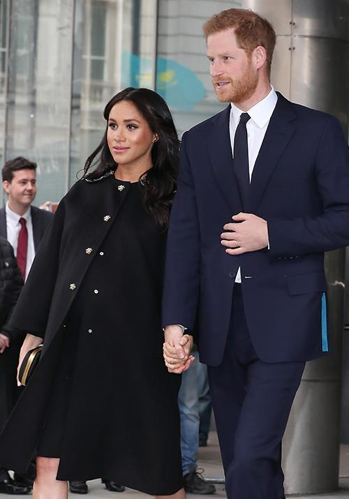 "In her last public appearance before going on official maternity leave, Duchess Meghan stepped out in a gorgeous black Gucci coat along with earrings by New Zealand designer Boh Runga. The accessory was a fitting tribute as she and Harry [attended a memorial service](https://www.nowtolove.com.au/royals/british-royal-family/meghan-markle-prince-harry-new-zealand-tribute-54716|target=""_blank"") in London for the Christchurch shooting victims. *(Image: Getty Images)*"