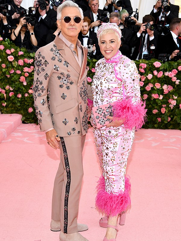 Aussie Aussie Aussie! Director Baz Luhrman and Catherine Martin colour-coordinated in pink. *(Image: Getty Images)*