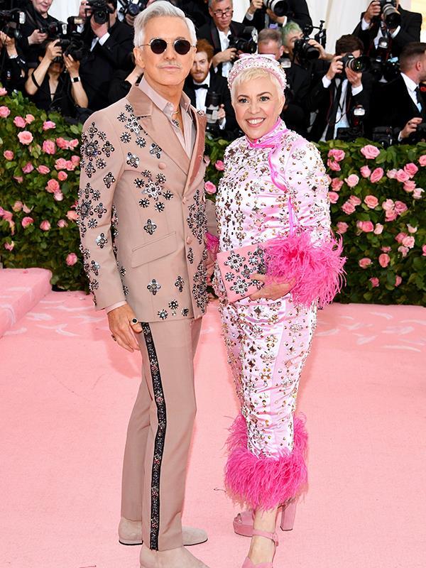 Aussie Aussie Aussie! Director Baz Luhrman and Catherine Martin colour-coordinated in pink. *(Image: Getty Images)*