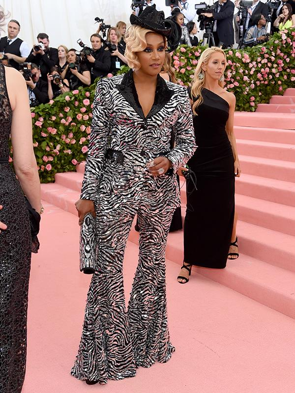 Ride em' (zebra) cowgirl! Actress Tiffany Hadish arrives at the Met Gala. *(Source: Getty Images)*