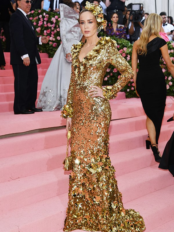 Channelling her inner Gold Logie, Emily Blunt is a serious vision in gold. *(Source: Getty Images)*