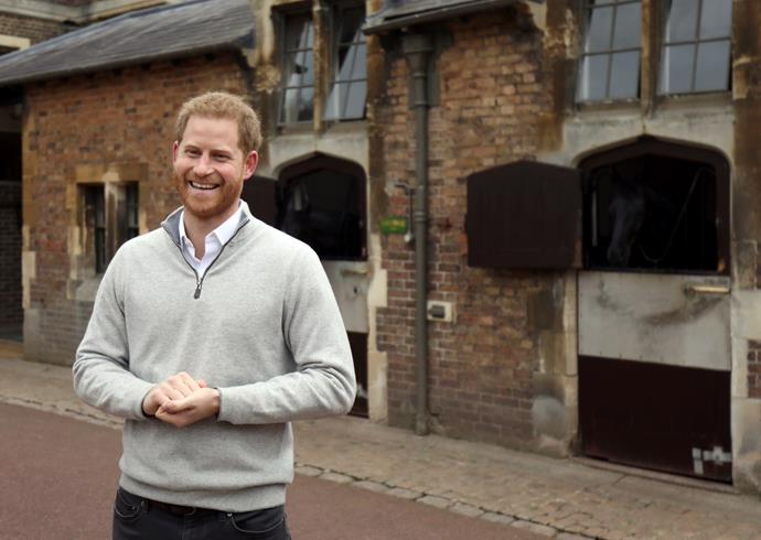 An overjoyed Prince Harry announcing the birth of Baby Sussex in Windsor. *(Image: Getty)*
