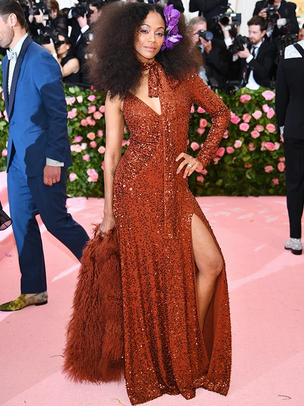 Actress Zoe Saldana rocking up as Studio 54 is a mood. *(Source: Getty Images)*