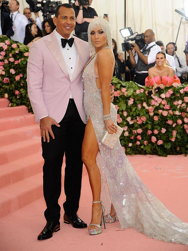 Soon to be husband and wife, Jennifer Lopez and Alex Rodriquez struck a pose. *(Source: Getty Images)*