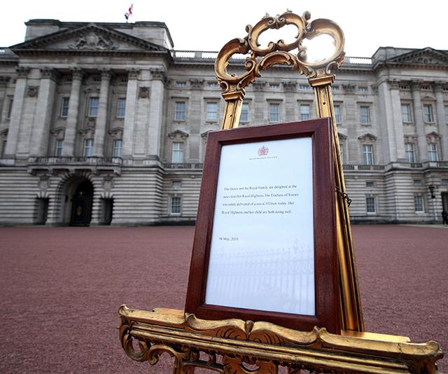 After every royal birth, an easel is placed outside Buckingham Palace with an official statement. *(Image: Getty Images)*