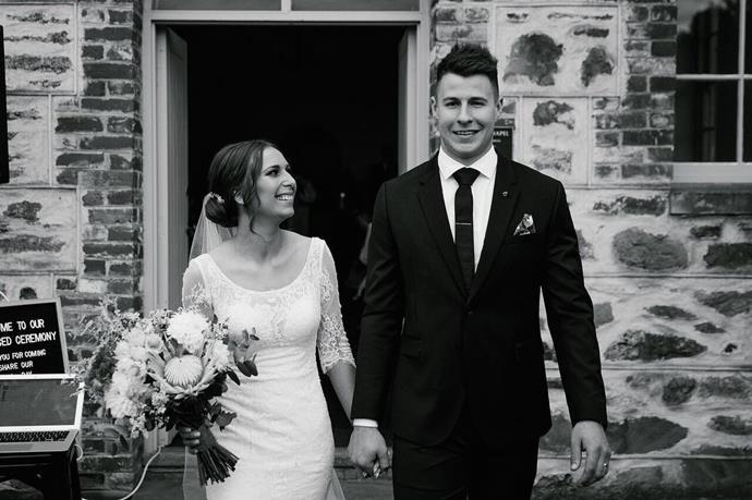 The couple on their wedding day last year. *(Image: @lauracassai18/Instagram)*