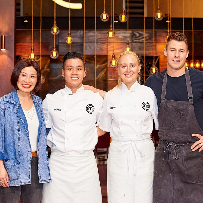 MasterChef mentor Poh alongside contestants Derek and Tessa, and guest chef Max Sharrad. *(Image: @masterchefau/Instagram)*