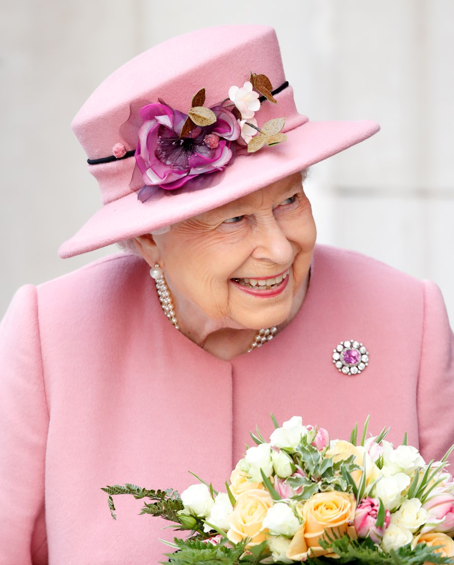 The Queen is one proud great-grandmother. *Image: Getty*