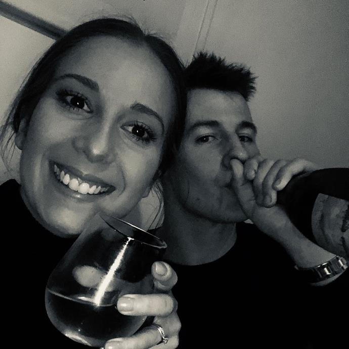 The cute couple enjoying a cheeky vino! *(Image: @sharrm_/Instagram)*