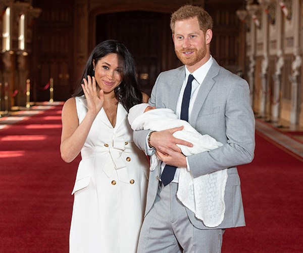 Meghan and Harry introduced their gorgeous son to the world during a photocall at Windsor Castle, two days after his birth. *(Image: Dominic Lipinski / PA / Getty)*