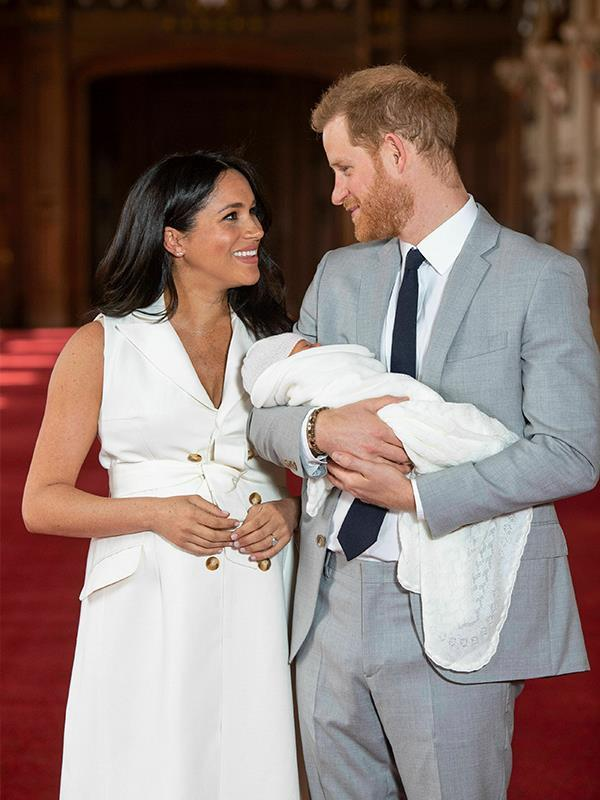 Earlier in the day, royal fans got their first glimpse of young Archie in his debut photoshoot. *(Image: Dominic Lipinski / PA / AAP)*