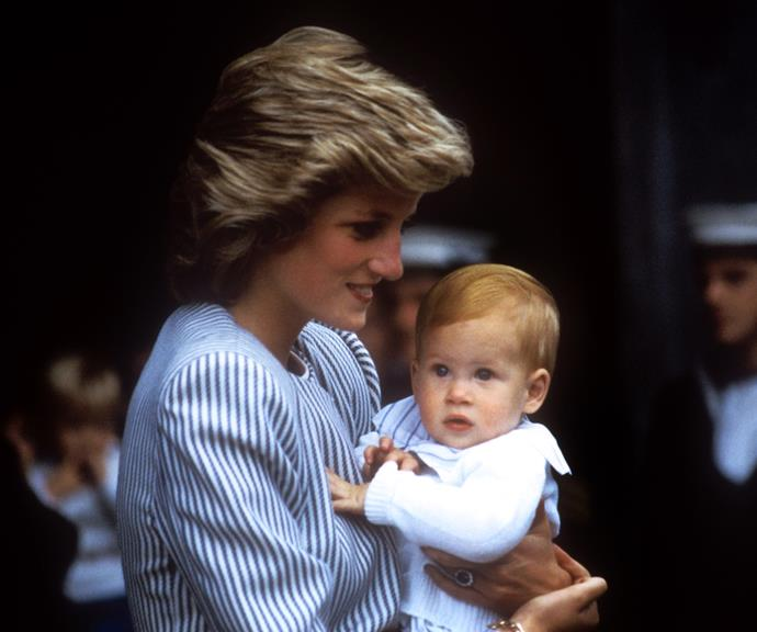 Harry and Diana pictured in the late 1980s. *(Image: Getty)*