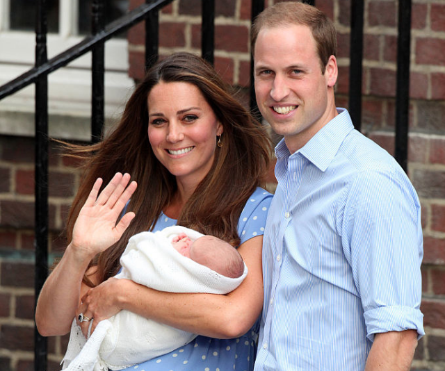 Thrilled new parents, Prince William and Duchess Catherine introduce their son, Prince George to the world. *(Image: Getty.)*