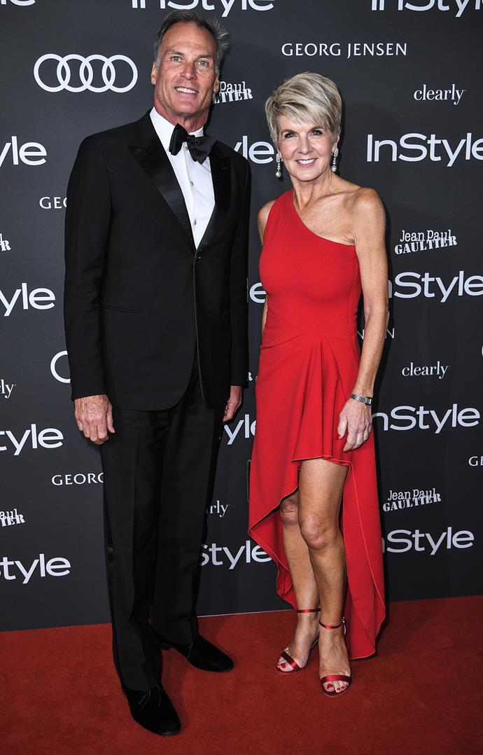 "Julie and her [partner David Panton](https://www.nowtolove.com.au/news/real-life/julie-bishop-50819|target=""_blank"") looked like the ultimate power couple on the red carpet at the InStyle Women of Style Awards - and would you look at those pins! *(Image: Getty)*"