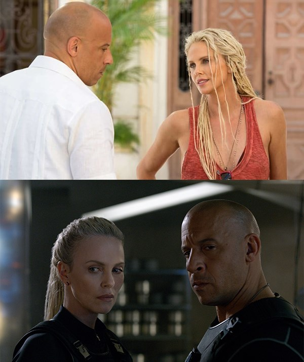 Theron and Diesel in *The Fate of the Furious*. *(Universal Pictures)*