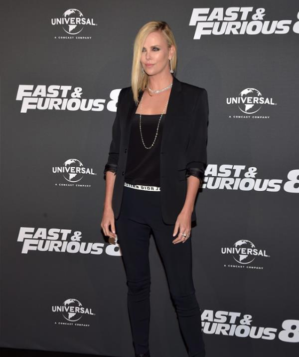 Theron promoting *The Fate of the Furious*. *(Getty)*
