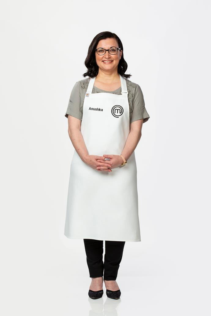 **Anushka Zargaryan, 49, Optical Dispenser, VIC** <br><br> Anushka describes her food as a 'fusion' of cuisines from Iran, Russia and Armenia. Her Russian honey cake was a hit with the judges during her audition, with Anushka revealing she loves the technical challange of cooking desserts.
