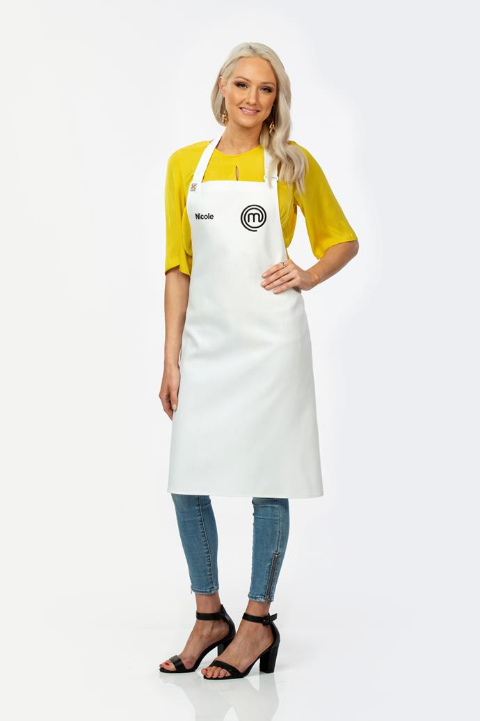 **Nicole Scott, 24, HR Associate, QLD** <br><br> Queensland native Nicole says she's most confiend in the kitchn with seafood and protein, but she's worried about the technical dessert elements. She has left the judges hanging for more after plating up a perfectly cooked rib eye steak at auditions.