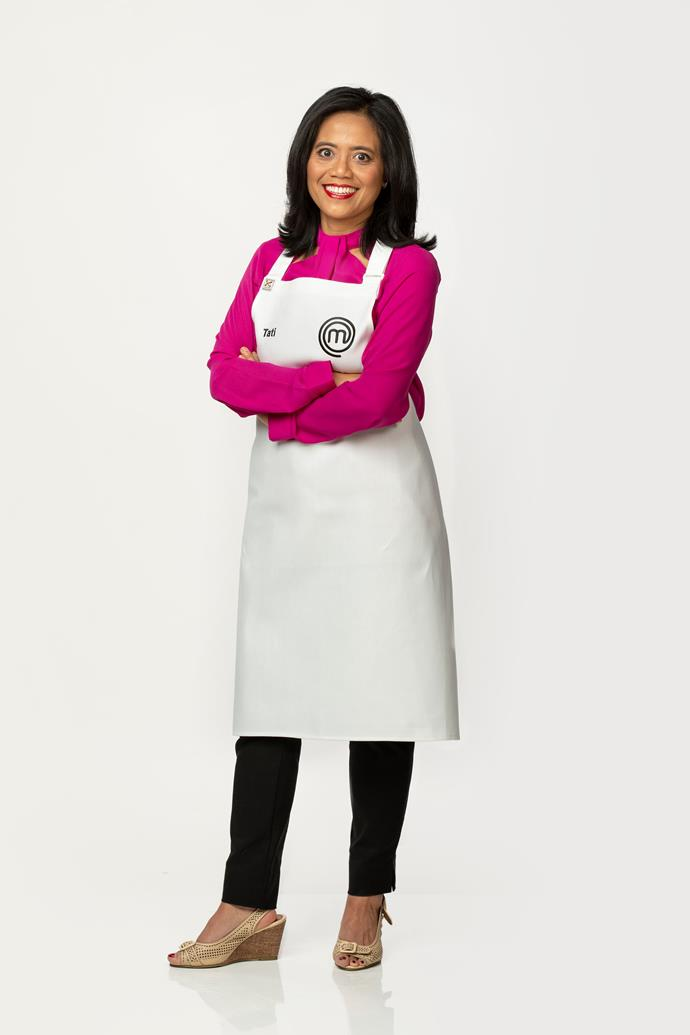 **Tati Carlin, 49, Receptionist, VIC** <br><br> Raised by her paternal grandparents, Tati learned to cook curries traditional to Java and Indonesia. She admits Asian curries and cooking with intuition will be her strength in the MasterChef kitchen, though she worries about the Pressure Tests.