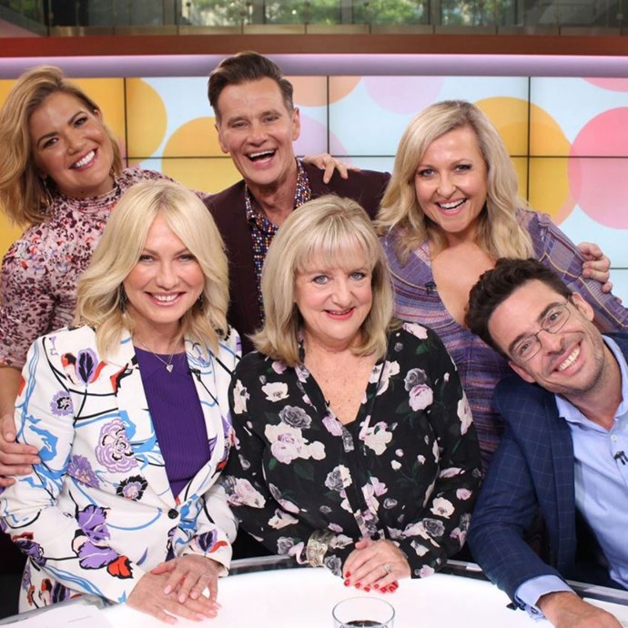 Angela with her Studio 10 pals Sarah Harris, Richard Reid, Kerri-Anne Kennerley, Denise Scott and Joe Hildebrand (Image: *Instagram/@angelabishop10*)