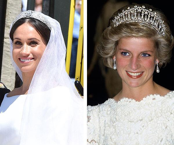 """""""She admires everything from Diana's style to the way she did things her way at the palace,"""" an insider reveals of Meghan. *(Images: Getty)*"""