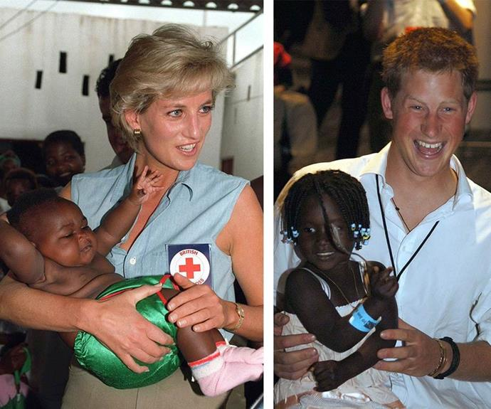 Harry has continued his mother's inspirational humanitarian work. *(Images: Getty)*