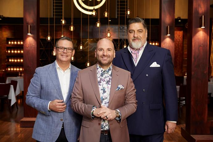 George with his MasterChef Australia co-stars Gary Mehigan and Matt Preston (Image: Network 10).