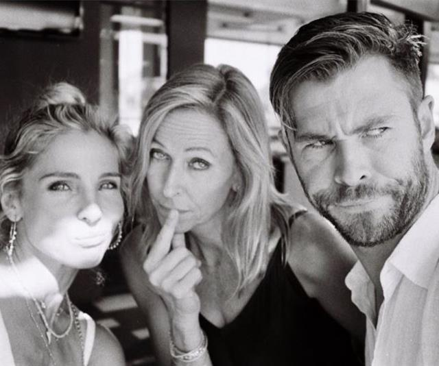 He may be one of the sexiest men on the planet, but Chris Hemsworth shared a goofy snap with his mum and wife Elsa Pataky to celebrate his two favourite mums. *(Image: Instagram @chrishemsworth)*